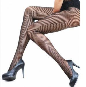 Accessories - Black V Pattern Fishnet Stockings